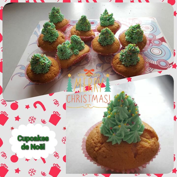 Forêt de cupcakes de Noël chocolat blanc framboises en forme de sapin