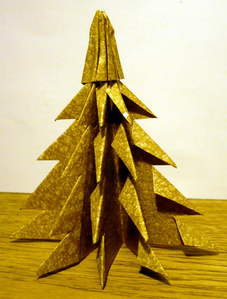 Un Sapin De No L En Origami Emballage Cadeau